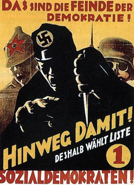 Ακόμα μια αφίσα του SPD όπου φασισμός και κομμουνισμός εξισώνονται ξεδιάντροπα