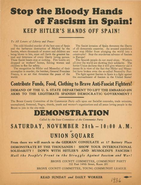 Αφίσα του ΚΚ ΗΠΑ που καλεί σε διαμαρτυρία κατά του εμπάργκο