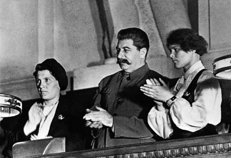 1.RIAN_archive_377427_Stalin_and_famous_collective_farmers_Demchenko_and_Angelina_at_the_X_Congress_of_the_Young_Communist_League